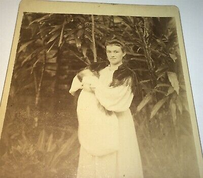 Rare Antique Victorian American Mother & Baby, Tropical Background Cabinet Photo