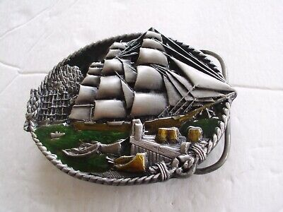 Tall Sailing Ship Boat Nautical Maritime Belt Buckle Dinghy Pier 3D Enamel Usa