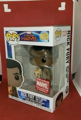 Funko Pop Nick Fury With Goose Cat Figure 447 Marvel Collector Corp Exclusive