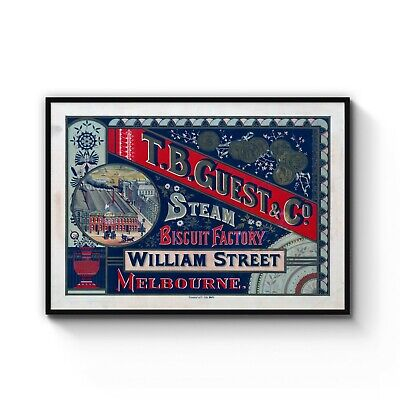 Vintage Steam Biscuit Factory, Melbourne CBD Art Poster Print: A4 - B1 Framed