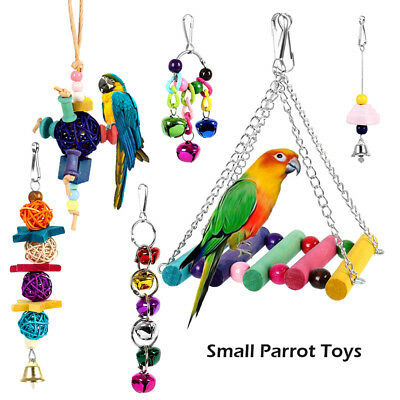 6x Parrot Hanging Swing Bird Toy Harness Cage Toys Parakeet Cockatiel Budgie !