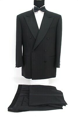 878e2edd6f1 Pal Zileri Italy Double Breasted Tuxedo Suit Black Wool Silk Peak Lapels 42R