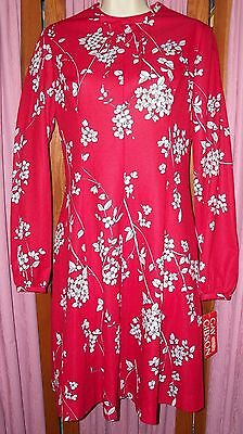 8b9dd5f71c92 Size 11 S/M Gay Gibson Vintage Red and White Floral Print Dress NWT Made