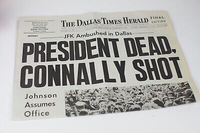 John F. Kennedy JFK Assassination Dallas Times Herald Newspaper Nov 22, 1963 EUC