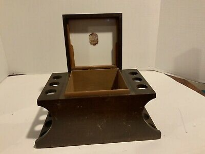 Vintage Pipe Rack Humidor Wood Box Pattberg Novelty Corp 1930s