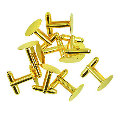 10Pcs Gold Tone Cufflink Cuff Link Backs Blanks Bases 15mm Jewelry Findings