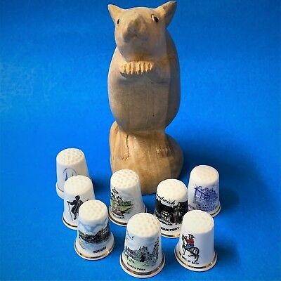 Lot x 8 Collectible Bone China Souvenir Sewing Thimbles, Assorted  - See Details