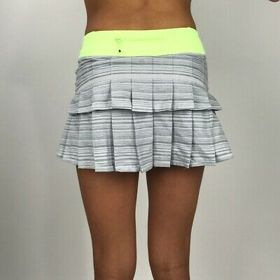 9888d2f074 Lululemon Pace Setter Mini Skirt Runner Wee Are From Space Green Gray Size 8