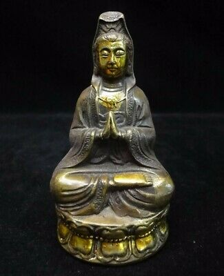 "Old Chinese Bronze ""GuanYin"" Buddha Seated Statue Sculpture Mark"