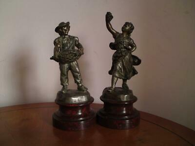 Antique pair French Spelter L Goyeau signed figures Harvest Basket Grape Picking