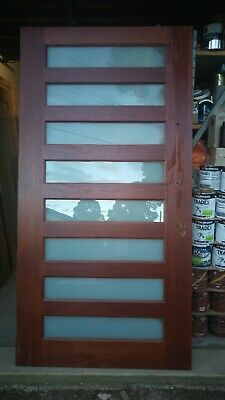 Maple solid entrance front exterior door 2340 x 1200  x 40  frosted glass