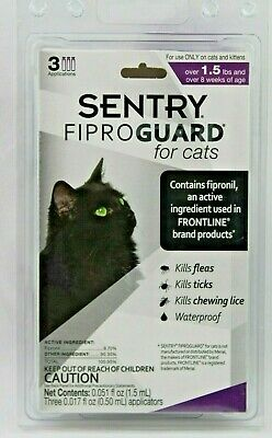 Sentry FiproGuard Topical Kills Flea Tick Lice Cats 8 weeks+ Over 1.5 Pounds NEW