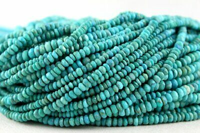 Super Quality Natural Arizona Turquoise Rondelle Faceted Bead 3.5-4.5 MM Beads