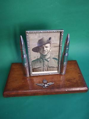 WWII  RAF AUSTRALIAN TRENCH ART  PHOTO FRAME  WITH SOLDIER  VINTAGE  1940's
