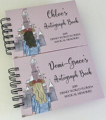 Personalised Disney Autograph Book A6 or A5 BLONDE or BROWN HAIR GIRL *REVEAL*