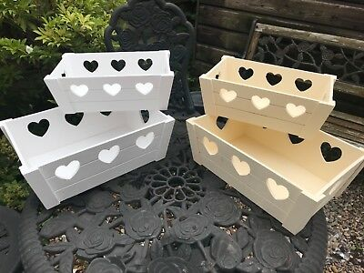 Shabby Chic Vintage Wooden Cut out Storage Boxes HEART CUT OUT CREAM/WHITE