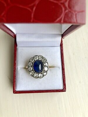 Stunning Antique 18ct white gold ring with a large sapphire & 5.5ct diamonds
