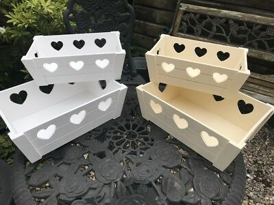 Shabby Chic Cream,White,Grey Colur Wooden Cut out Storage Boxes - 3 COLOURS