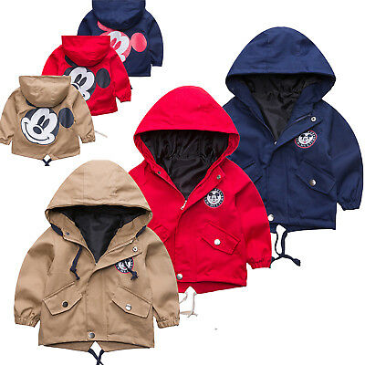 Girls Boy Casual Cartoon Mickey Mouse Jacket Coat Zip Button Up Hooded Outerwear