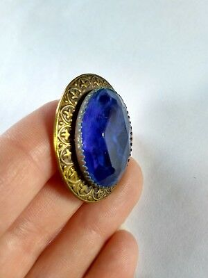 Antique Gay 90s Victorian Style Jewel Cobalt Blue Large Brass Metal Shank Button