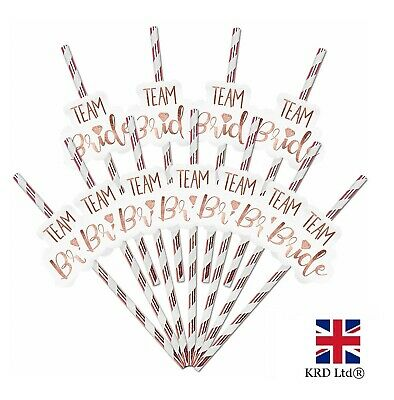 12 x TEAM BRIDE PAPER STRAWS Hen Party Rose Gold Bride to Be Party Decor PACK UK