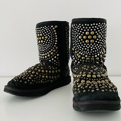 c53111b78a2 JIMMY CHOO UGG Boots Black Mandah Studded Limited Edition Size 7 US ...