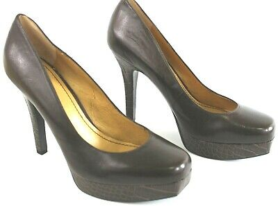 Nine West Womens Brown Heels Size 9 Leather Platform