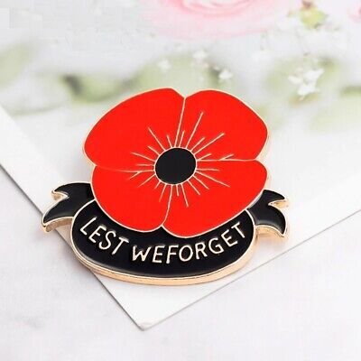 The Red Poppy * Remembrance Day Lapel Pin badge broach *ANZAC Day* 11-11  black