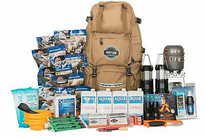 Emergency Survival Kit Hike Mountain First Aid Water Cook Storm Evac Back Pack