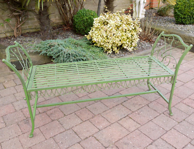 Garden Bench Seat Antique Green 3 Seater Patio Seating Iron Lawn Chair Stool New