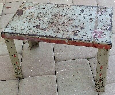 Industrial Step Stool metal Tailor shop Shabby steel antique gray red farm old