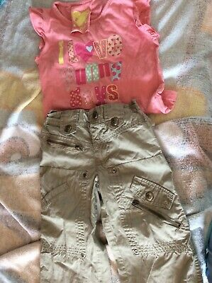Primark Girls Tshirt & Trousers Age 2-3 years vgc