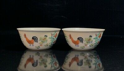 "3"" chenghua mark antique Porcelain famille rose painting chicken Cup A pair"