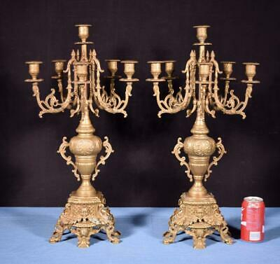 "*XL 24"" Tall Pair of French Neo Gothic Brass Bronze Candelabra Candlesticks"