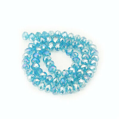 Cyan Czech Crystal Glass Faceted Rondelle Beads 6 x 8mm 70+ Pcs AB DIY Jewellery