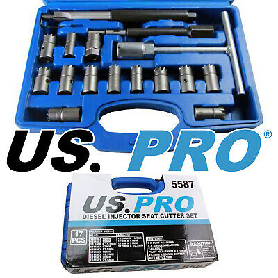 US PRO Tools 17pc Diesel Injector Seat Cutter Set Pilot Key NEW 14 to 19mm 5587