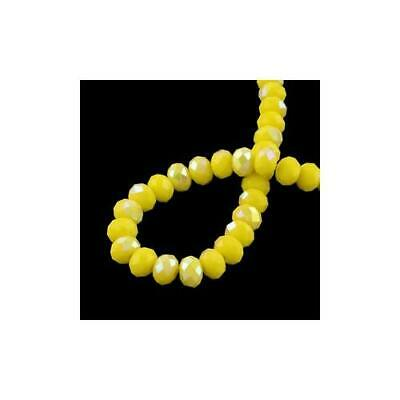 Czech Crystal Opaque Glass Faceted Rondelle Beads 6x8mm Yellow 70 Pcs AB Crafts