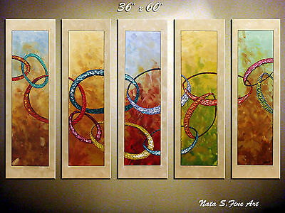 """36"""" x 60"""" Original Abstract Large Painting Modern Wall Decor 5 panel by Nata S"""