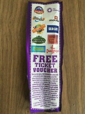 Free Merlin Ticket/2 For 1 Voucher Chessington Alton Towers Sealife London Eye