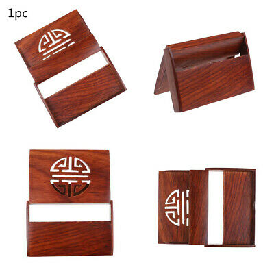 Wooden Name Card Business Card Holder Handmade Box Storage id credit case E/&F