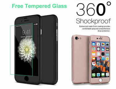 For iPhone 8 Case Shockproof 360 Heavy Duty Phone Cover + Glass Screen Protector