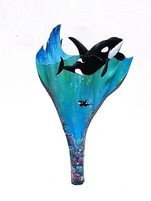 Orca Killer Whale carved painted palm tree frond wooden animal sea life wall art