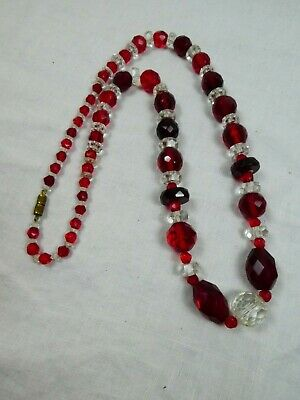Gorgeous Vintage Art Deco clear and red heavy long glass necklace, beautiful!