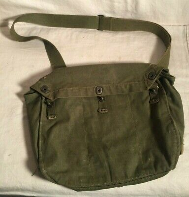WWII canvas US Army Lightweight Service gas Mask musette bag satchel NAMED