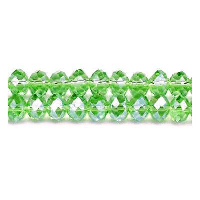 Green Czech Crystal Glass Faceted Rondelle Beads 6 x 8mm 70+  Pcs DIY Jewellery