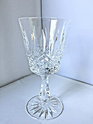 """Waterford Lismore Water Goblet Glass Vintage Cut Crystal 6 3/4"""" tall, cut stem"""