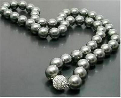 "Pretty New 10mm Medium / Dark Gray South Sea Shell Round Pearl 18"" Necklace"