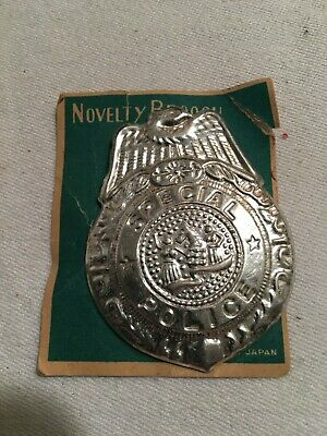 VINTAGE LOT OF 3 BADGE BROOCH PIN SPECIAL POLICE TIN TOY JAPAN 1970s OLD STOCK