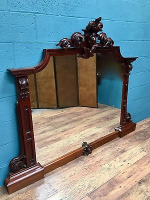 Large Victorian Carved Mahogany Mirror, Overmantle mirror (100484)