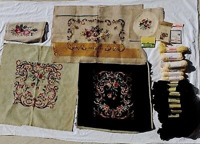 Vtg Preworked Needlepoint Tapestry Canvas Seat Cushion Pillow Cover Lot Wool